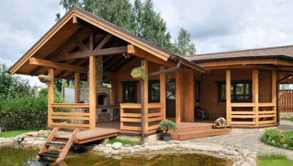 Проект угловой бани с террасой, барбекю и бассейном, Баня углом, Баня угловая